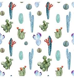 Watercolor cactus pattern vector