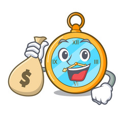 With money bag pocket vintage watch on a cartoon vector