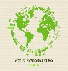 world environment card green earth globe vector image