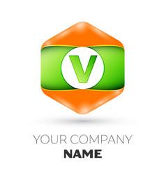 Letter v logo in the colorful hexagonal vector