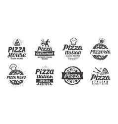 Pizza set logo label element Pizzeria vector image