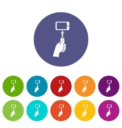 Selfie stick with mobile phone set icons vector image vector image