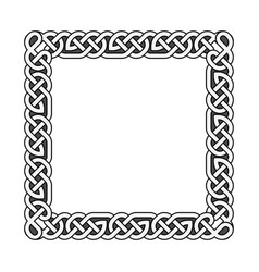 square celtic knots medieval frame in black vector image