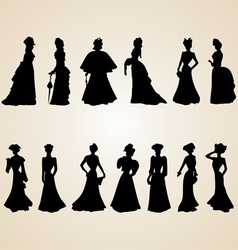 Victorian Women Silhouettes vector image vector image