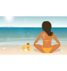 Young girl sunbathes on a beach and caring about vector image