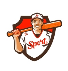 Cartoon baseball player with a bat in hand vector image