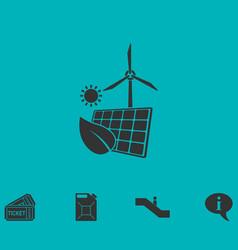 eco power icon flat vector image vector image