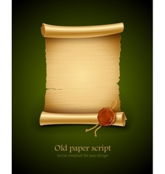 old paper script with stamp vector image vector image
