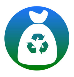 trash bag icon white icon in bluish vector image