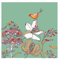 flower background with bird vector image vector image