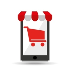 online shopping red cart buy design vector image vector image