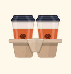 two take-out coffee in holder vector image vector image