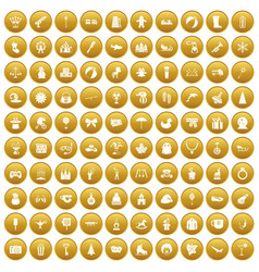 100 children icons set gold vector image