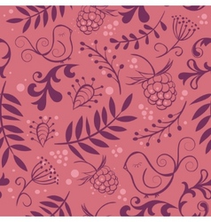 cute seamless background with bird and berry vector image