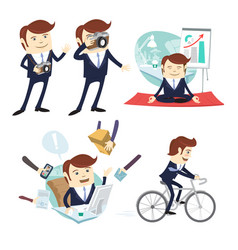 funny business man wearing suit doing yoga vector image