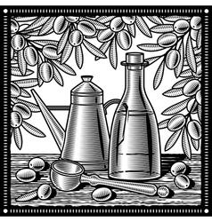Retro olive oil still life black and white vector image vector image