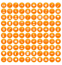 100 antiterrorism icons set orange vector image