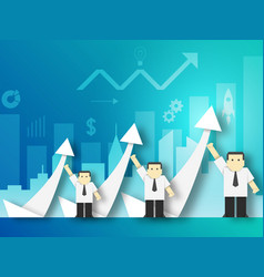 A team businessman shows growth vector