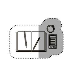 Agend coffee mug smartphone and pencils design vector