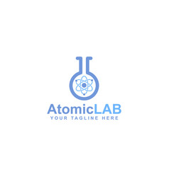 atomic logo design electron particles vector image