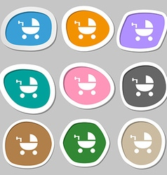 Baby Stroller icon symbols Multicolored paper vector