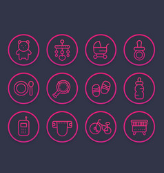 baline icons set toys vector image