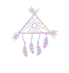 Beauty dream catcher with feathers and arrows vector