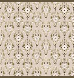 beige damask floral seamless pattern vector image