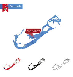 Bermuda blue low poly map with capital hamilton vector