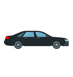 Black executive taxi icon flat isolated vector