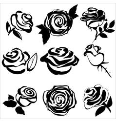 black silhouette rose set symbols vector image