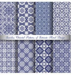 blue arabesque patterns vector image vector image