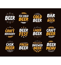 Brewery set logo label element Craft beer vector image