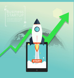 business startup with green arrow up symbol vector image