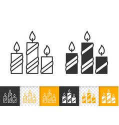 candle flame simple fire black line icon vector image