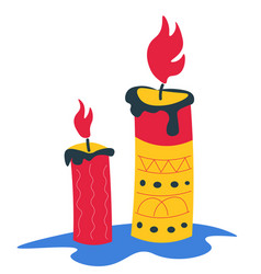 candle with flame decorated with ornaments and vector image