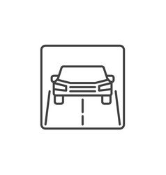 Car on road outline icon front view vector