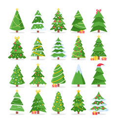 cartoon christmas trees vector image