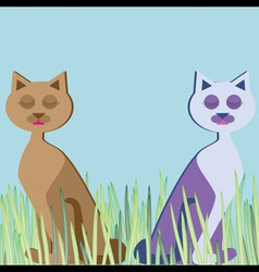 cats sitting in grass sleeping vector image