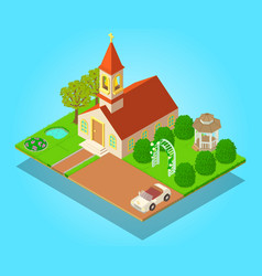 Church ritual concept banner isometric style vector