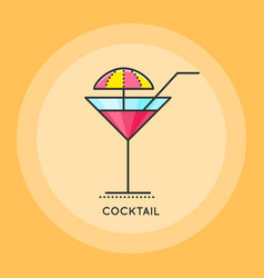 Cocktail thin line icon vector