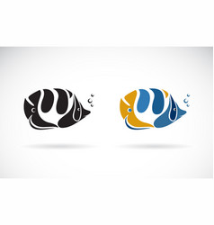 colorful sea fish on white background undersea vector image
