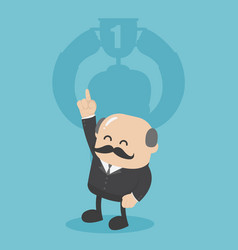 concept business man with the trophy cup shadow vector image