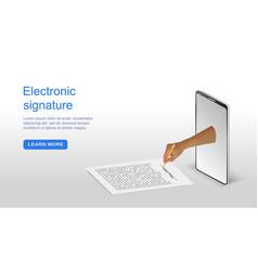 Concept digital signature via mobile phone vector