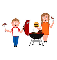 couple preparing food on a barbecue grill vector image