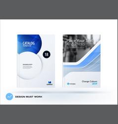 Creative design of blue business brochure set vector