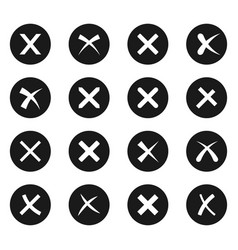 cross signs black icon set vector image