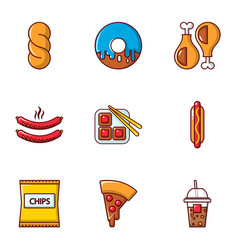 Different fast food icons set flat style vector