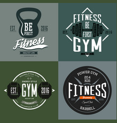 Dumbbell and barbell poise and rod sport signs vector