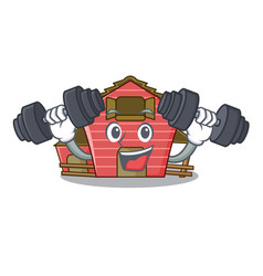 Fitness character red barn building with haystack vector